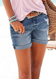 6c4f2fd7bb8 Buffalo London Worn Look Denim Shorts