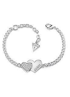 a2144c599b Guess Me & You Stainless Steel Double Heart Bracelet with Swarovski®  Crystals
