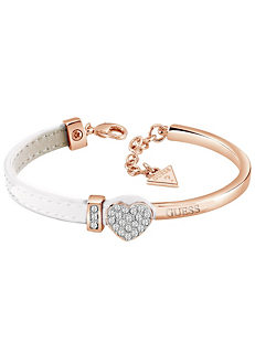 2d3f0741d3 Guess Swarovski® Crystal Set Heart Rose Gold Plated with Half White Leather  Bangle Box Set