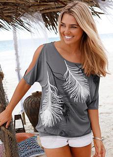 9a4ca6542b51a LASCANA Feather Print Cold Shoulder T-Shirt