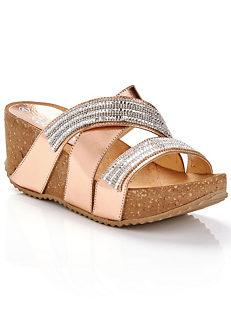 ff63553e622 Metallic Diamante High Wedge Sandals