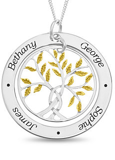 04bd8cbc7d4 Personalised Sterling Silver Family Tree Pendant with Gold Plated Leaf  Design