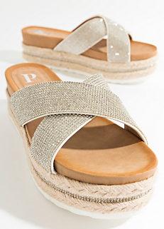 dfe5a4fb4a692 Pia Rossini  Nour  Cross Strap Platform Sandals