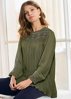 feba79b489d62 Together Pleated and Embroidered Tunic Top