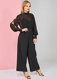 a2f3a46f3025 Warehouse Chiffon Top Split Sleeve Jumpsuit
