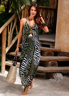 8f1cbcc816 Zebra Print Beach Maxi Dress