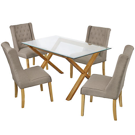 Cadiz Oak Glass Dining Table 4 Verona Linen Style Dining Chairs Freemans