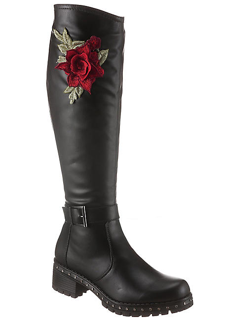 City Walk Floral Print Knee High Boots