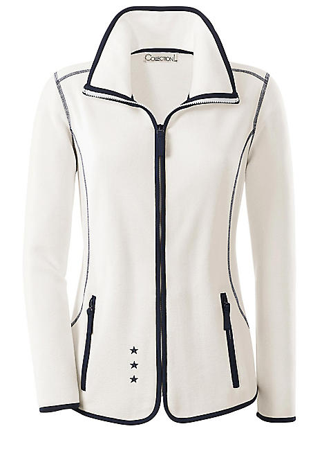 911aca6b0d3 Collection L Contrast Piping Fleece Jacket