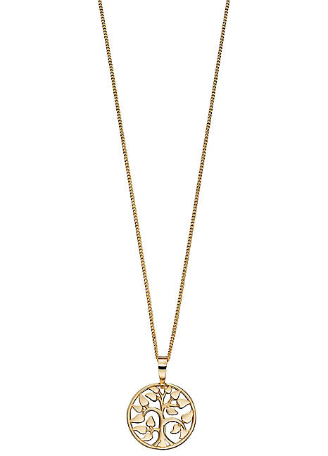 Elements Gold 9ct Yellow Gold Tree of Life Pendant Necklace