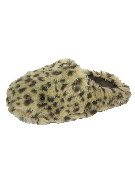 Ladies Leopard Print Faux Fur Mule