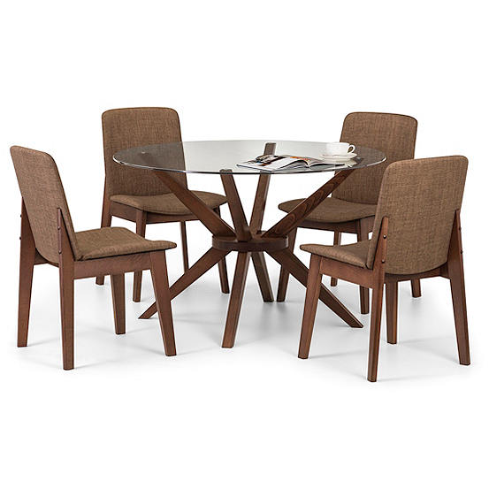 Chelsea Round Glass Table 4 Chairs, Round Glass Top Dining Table With 4 Chairs