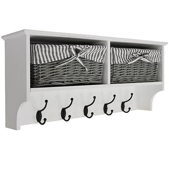 Hallway Wall Storage Shelf With 2 Baskets 6 Coat Hooks Freemans