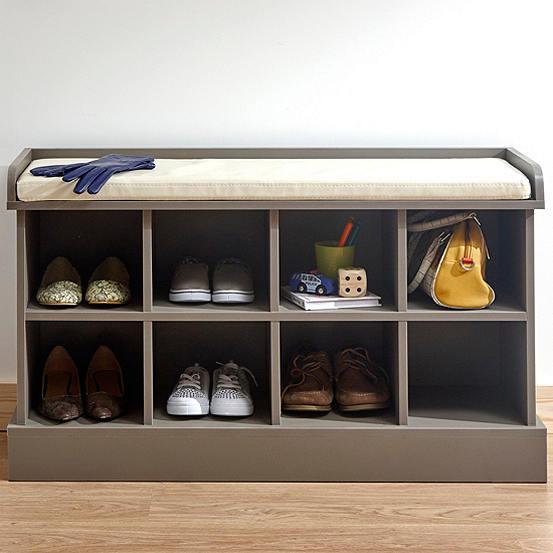 Wooden Bench Upholstered Seat Hallway Set Shoe Storage Coat Hanger Hooks