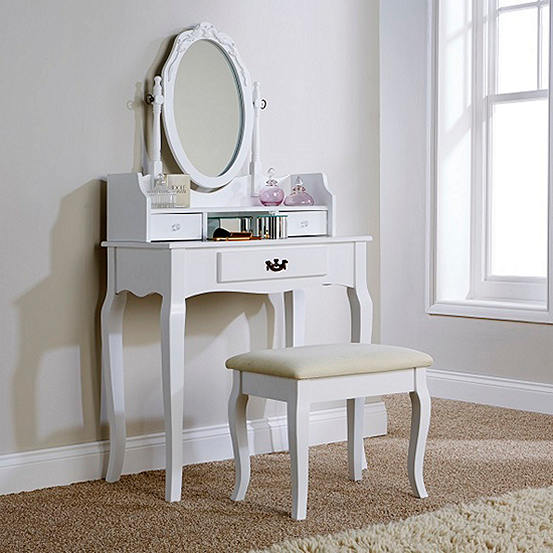Lumberton Dressing Table Stool, Redstone Dressing Table With Stool And Mirror White