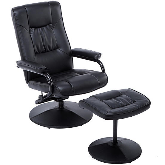 Memphis Faux Leather Swivel Recliner Chair Footstool