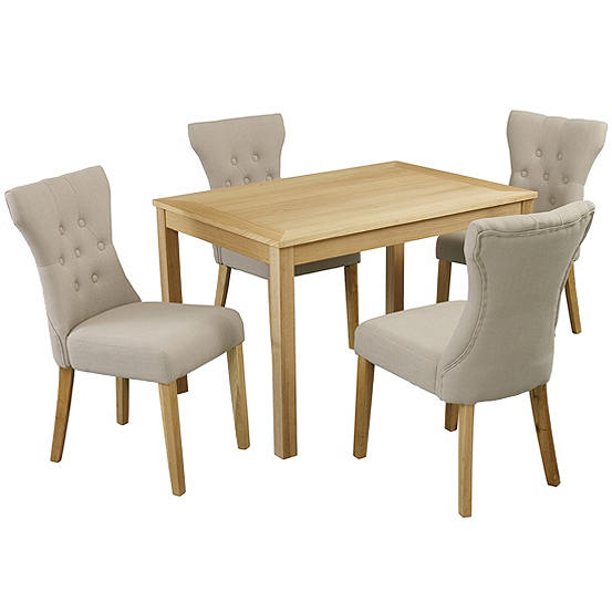 Oakridge Oak Stain Ash Veneered Dining Table 4 Naples Fabric Chairs
