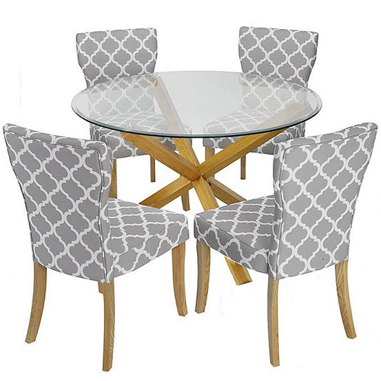 Oporto Glass Dining Table 4 Hugo Fabric Dining Chairs Freemans