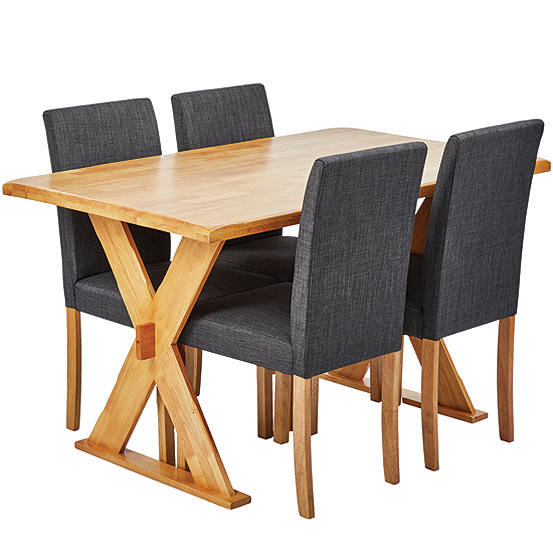 Seville Oak Stain Wooden Dining Table 4 Anna Twill Fabric Chairs