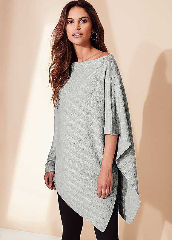 Cashmere Cable Poncho