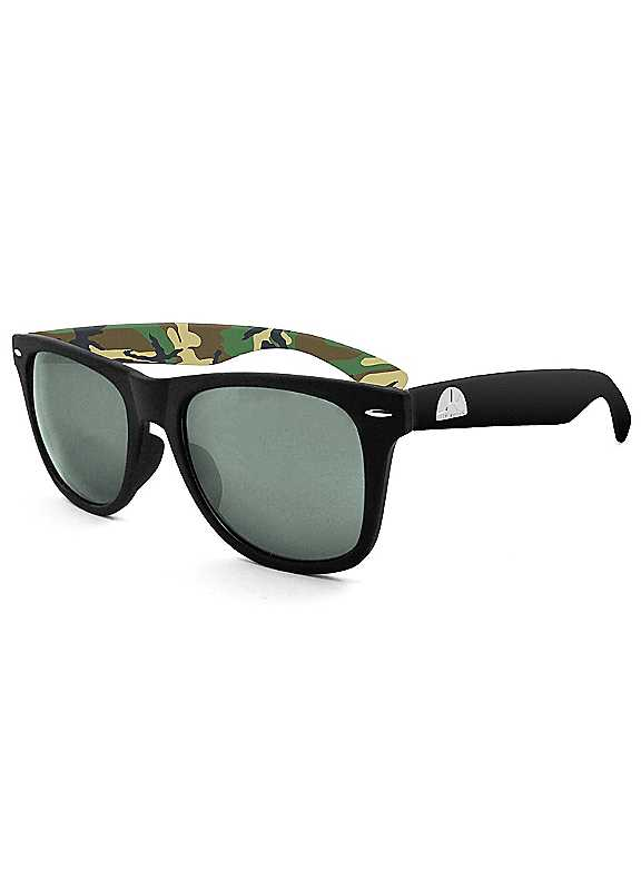 East Village Mens Wayfarer Sunglasses In Black With Camouflage Print Inside Temple